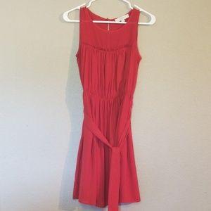 Red Ann Taylor Loft Size 2 Midi Dress